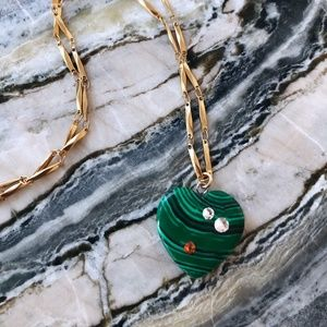 NOTTE Heart to Heart Necklace Gold Malachite NWT